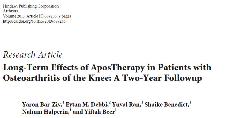 השפעה ארוכת טווח של טיפול אפוסתרפיה בקרב אנשים הסובלים מאוסטיאוארטריטיס של הברך – מעקב שנתיים