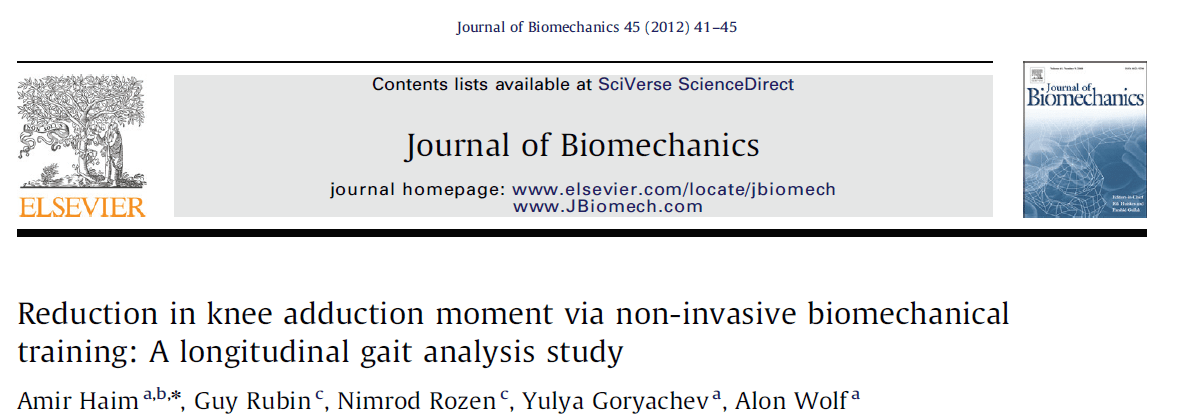 ירידה במומנט האדקטורי בברך בעקבות טיפול ביומכני שמרני מחקר אורך על תבניות הליכה